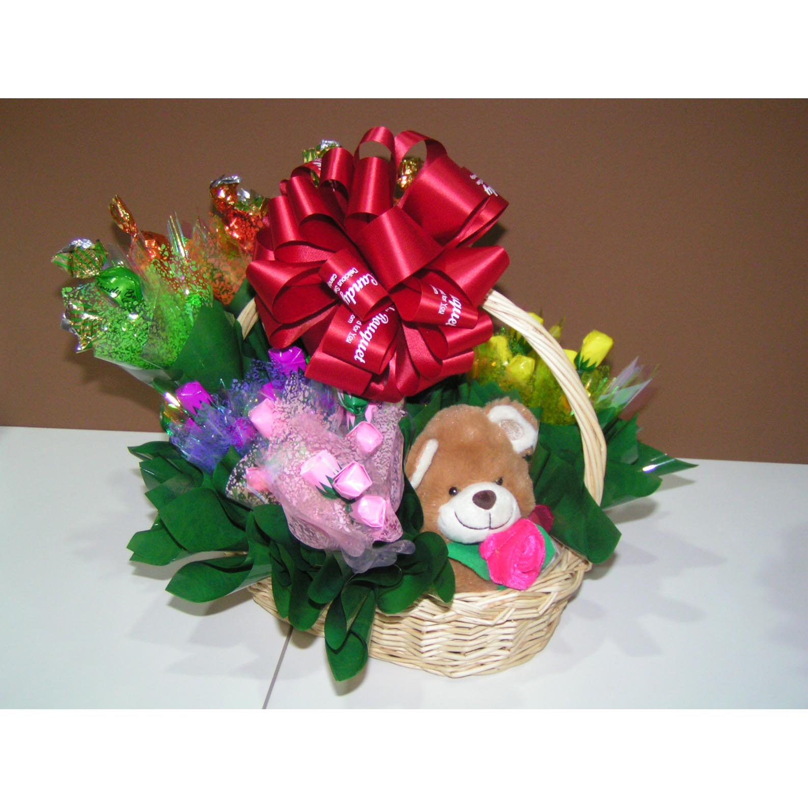 Send get well soon gifts to kolkatasend get well soon gifts to kggetwel005 small teddy 10pcs red rose 10 pcs yellow rose 10pcs pink rose basket dhlflorist Images